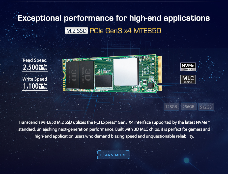 Exceptional performance for high-end applications  M.2 SSD  PCIe Gen3 x4 MTE850