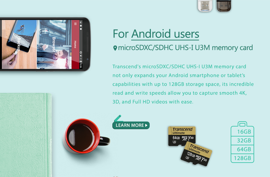 For Android users microSDXC/SDHC UHS-I U3M memory card